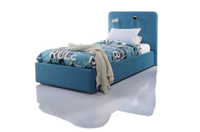 Кровать Fancy 120х200 с подъемным механизмом голубого цвета
