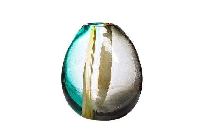 Ваза стеклянная желто-зеленая