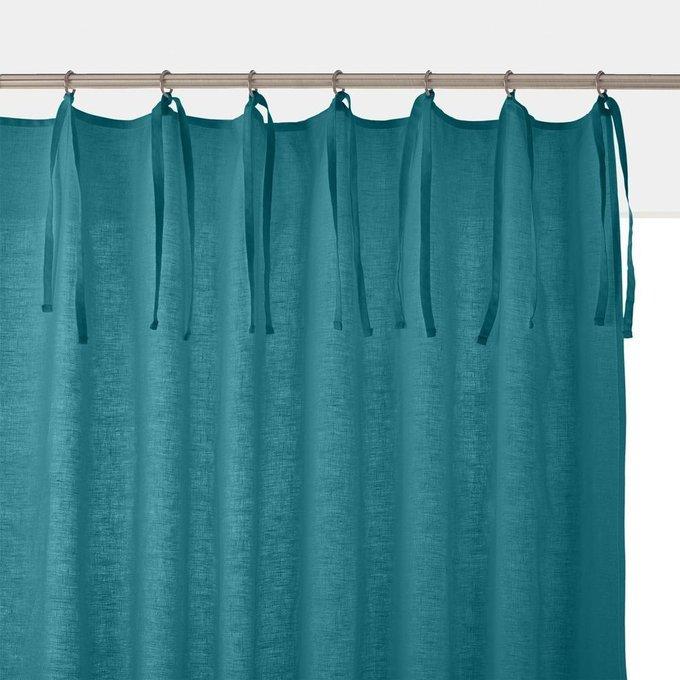 Штора Odorie из льна и вискозы с завязками сине-зеленого цвета 250x135