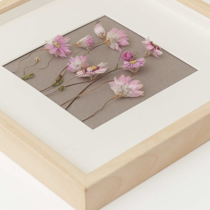 Картина с розовыми сухоцветами
