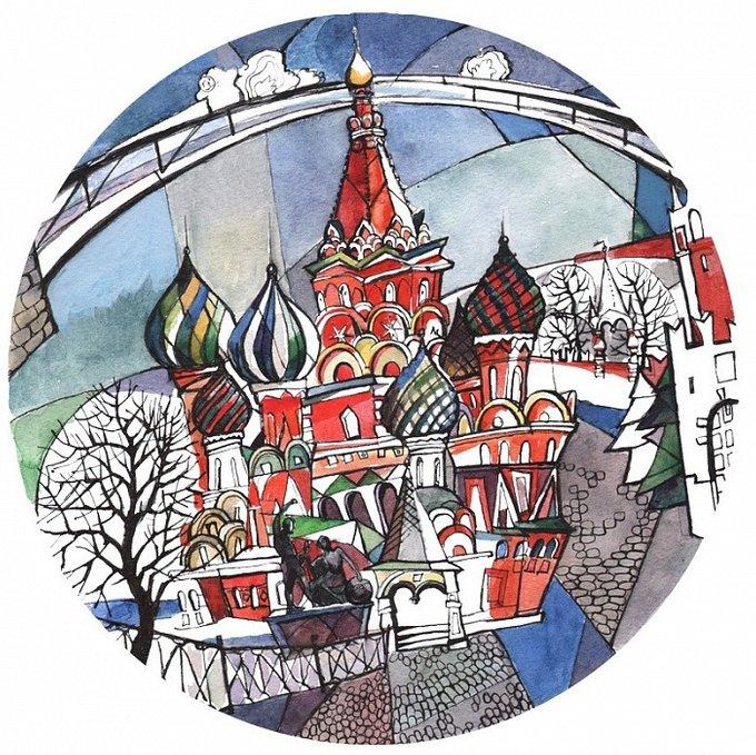 Тарелка сувенирная с волнистыми краями Собор Василия Блаженного