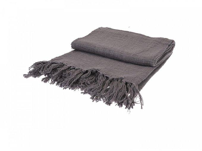 Плед хлопковый H&S Monochrome темно-серого цвета 130х170