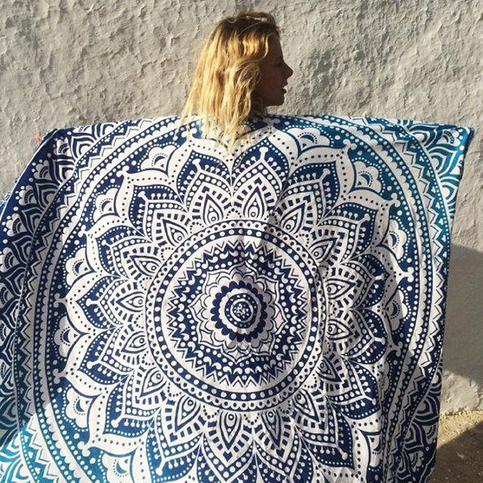 Пляжный коврик мандала Malibu бирюзовый