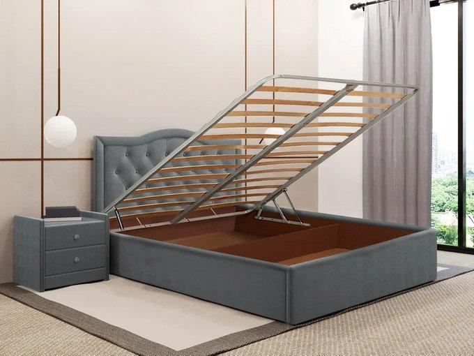 Кровать Герцогиня серого цвета 120х200 с подъемным механизмом
