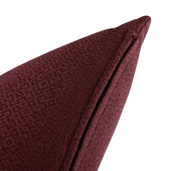 Подушка декоративная Essential из хлопка фактурного плетения бордового цвета