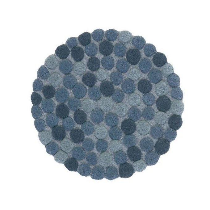 Круглый ковер Adok синего цвета 200 см
