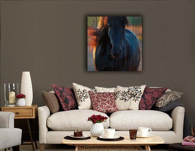Картина на дереве Гнедой жеребец 150х150