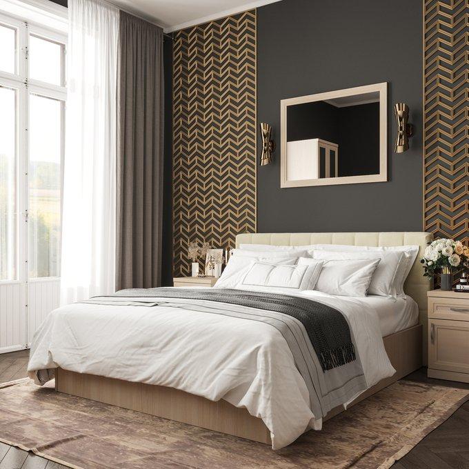 Кровать Магна 160х200 бежевого цвета и подъемным механизмом