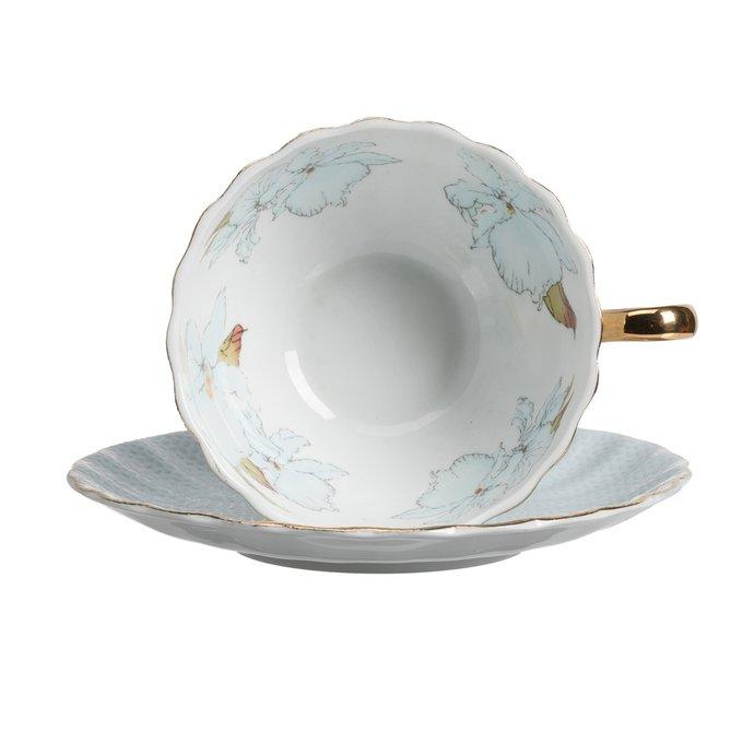 Чайная пара с цветами Arista Голубая