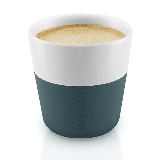 Набор из двух чашек для эспрессо с силиконовым чехлом бирюзово-синих