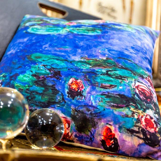 Декоративная арт подушка Водяные лилии версия 2