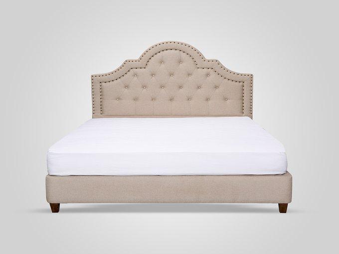 Кровать с обивкой из ткани бежевого цвета 140X200