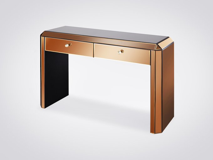 Консоль золотисто-кофейного цвета с двумя ящиками