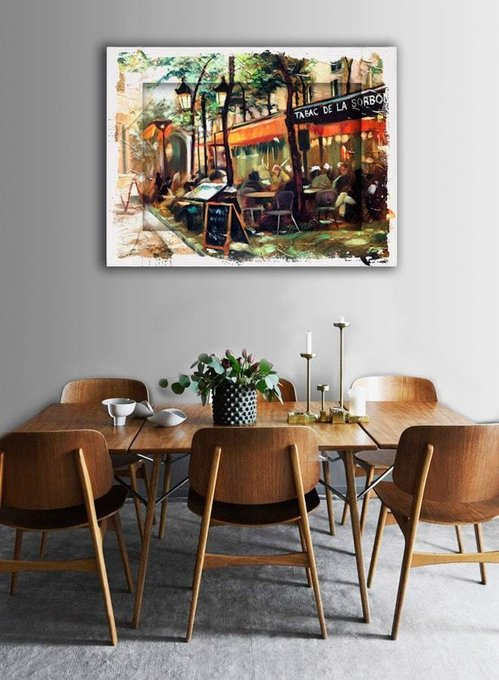 Картина с арт рамой Кафе Сорбона  35х45