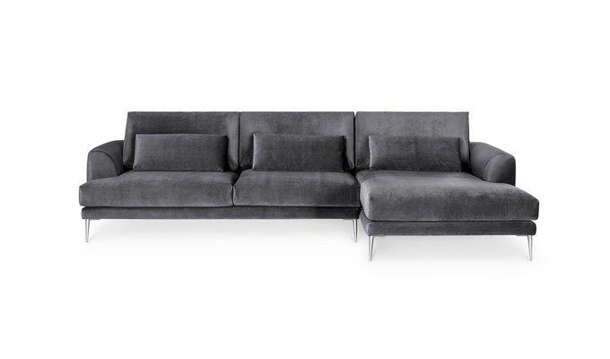 Угловой диван Coffee темно-серого цвета