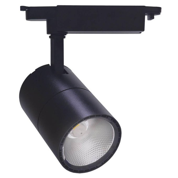 Трековый светодиодный светильник из металла и пластика черного цвета