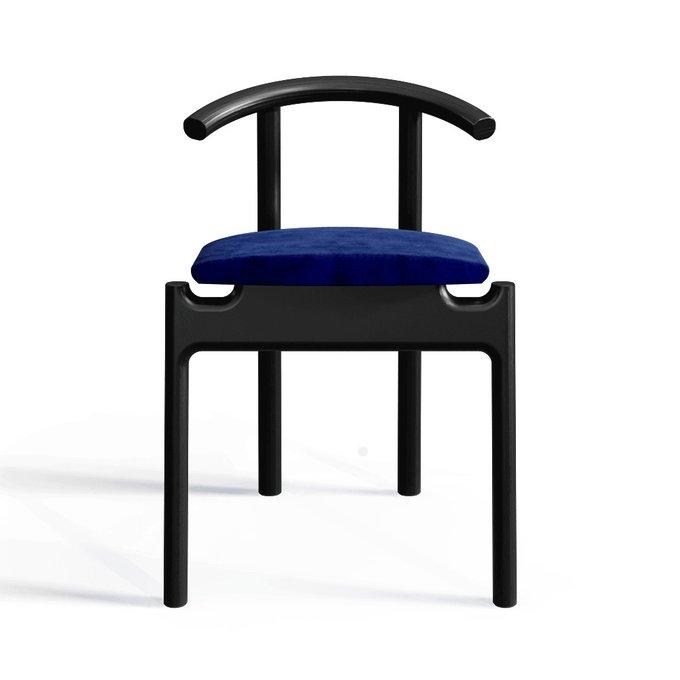 Стул Hans black/velvet blue с мягким сидением