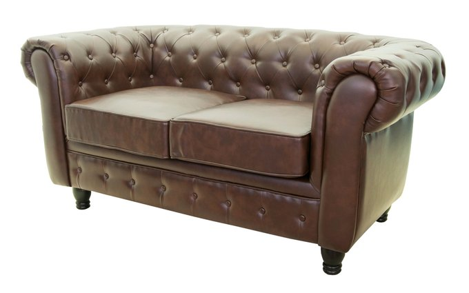 Кожаный диван Chesterfield brown 3S