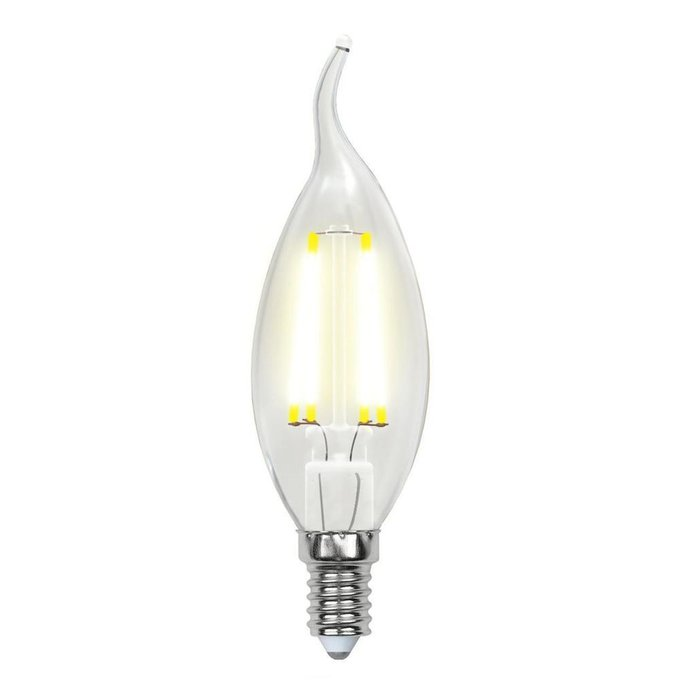 Лампа светодиодная E14 6W 4000K свеча прозрачная