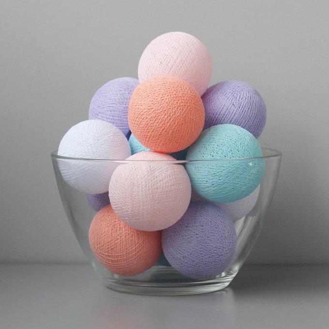 Тайская гирлянда бирюзово-розово-фиолетовая