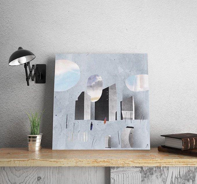 Картина Облака над городом на холсте