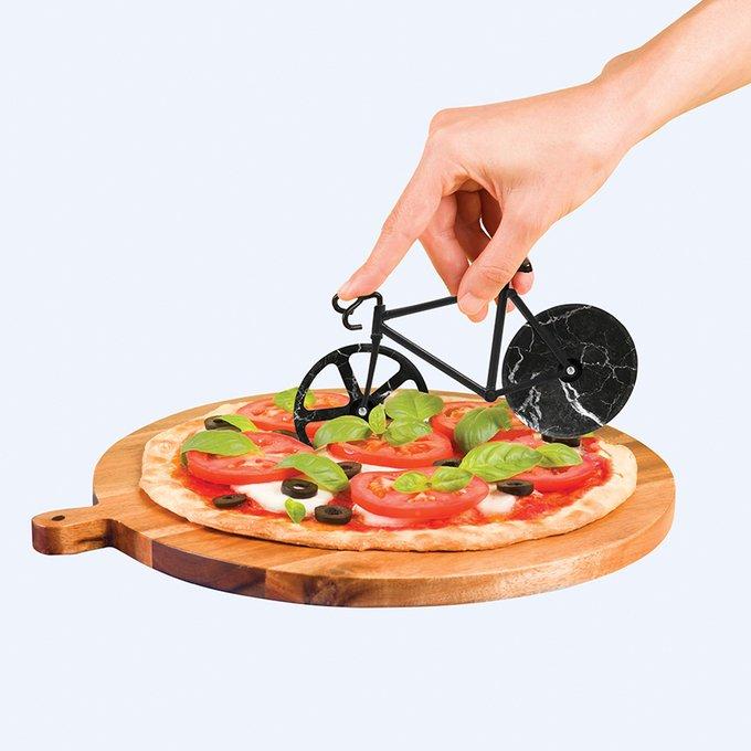 Нож для пиццы из нержавеющей стали Doiy the fixie черный мрамор