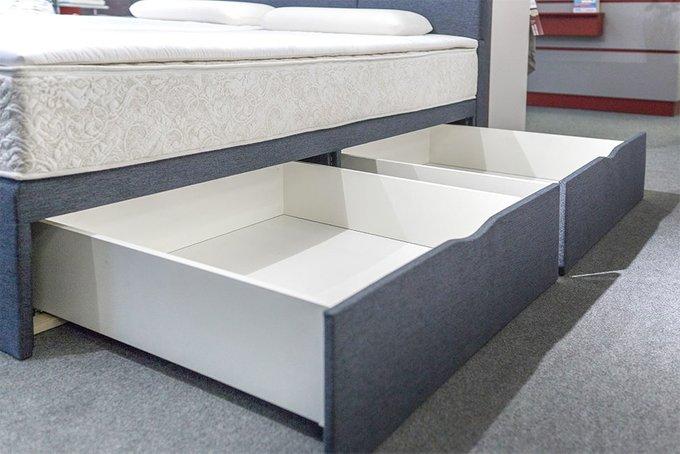 Кровать Домино серого цвета с тремя ящиками 200х200