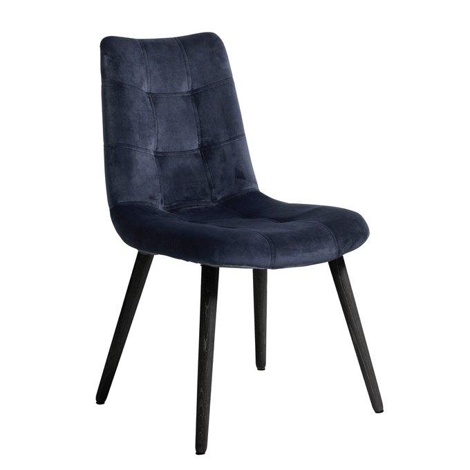 Обеденный стул с обивкой из синего бархата