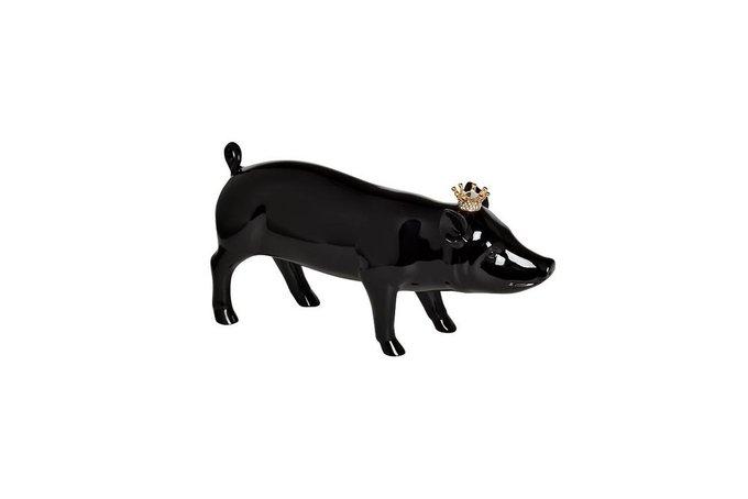 Статуэтка Свинка с короной черного цвета