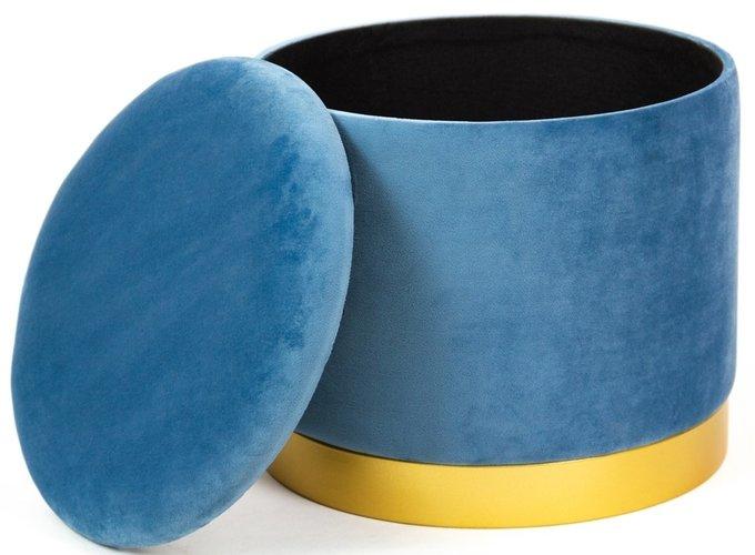 Пуф синего цвета на металлической подставке