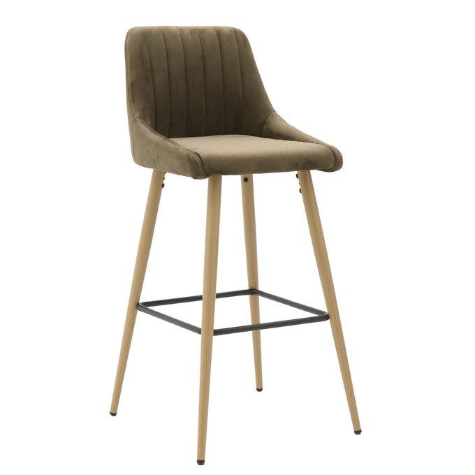 Барный стул из хлопка на деревянных ножках