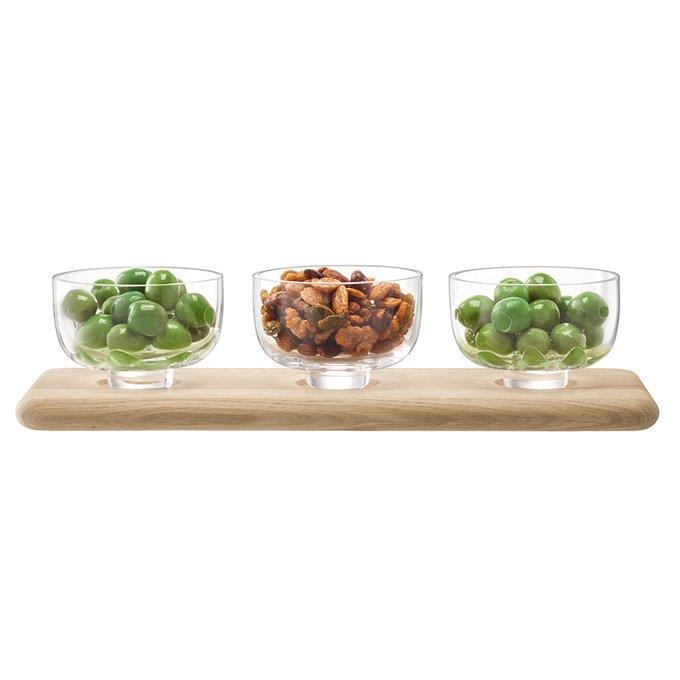 Набор из трех стеклянных мисок на подставке Serve