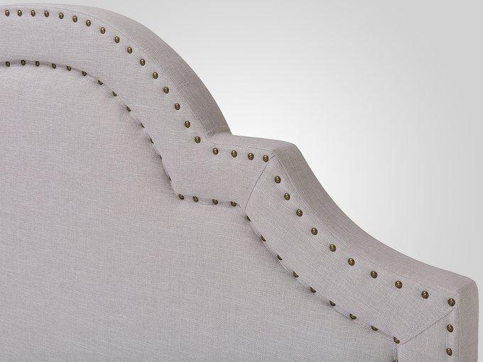 Кровать с обивкой из ткани светло-серого цвета 160х200