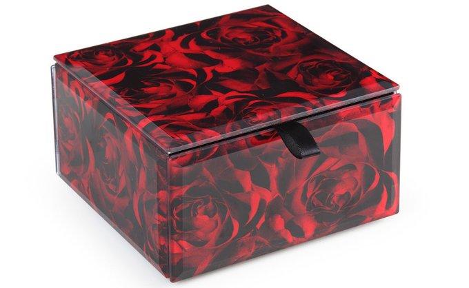Стеклянная шкатулка красного-черного цвета