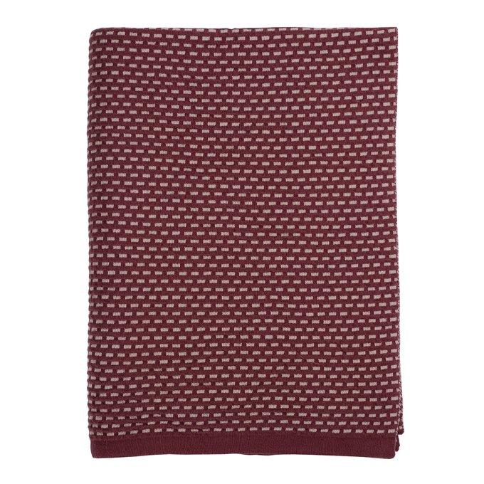 Плед Essential из хлопка фактурной вязки бордового цвета 130х180