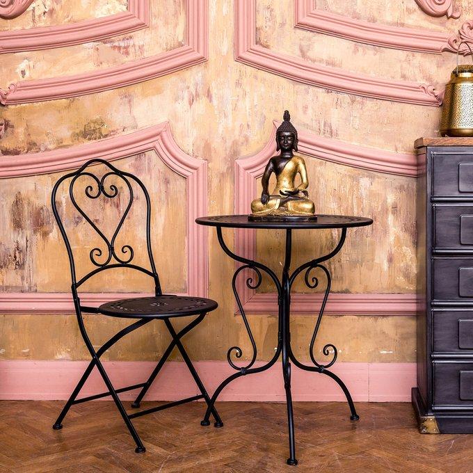 Столик для завтрака Жарден черный антик