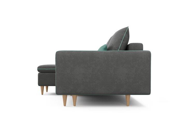 Угловой диван-кровать левый Ron серого цвета
