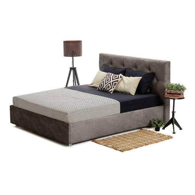 Кровать Монблан Beauty с подъемным механизмом серого цвета 180х200