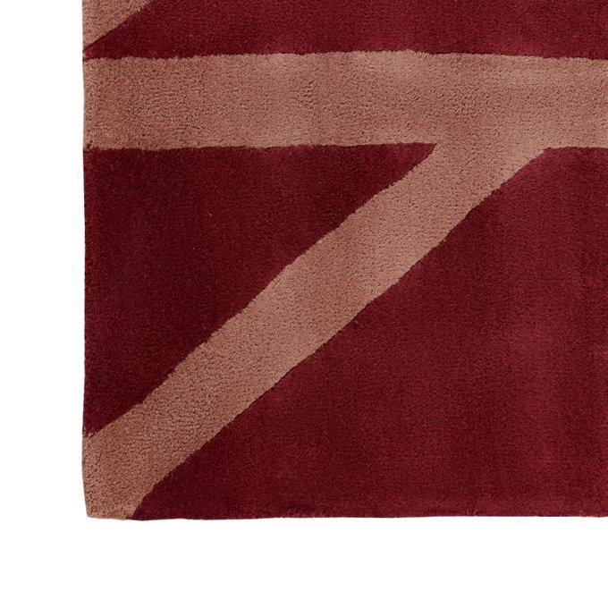 Шерстяной ковер Geometric dance бордового цвета 200х280