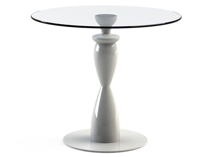 """Обеденный стол """"CANTALESO White"""" с круглой столешницей из закаленного стекла"""