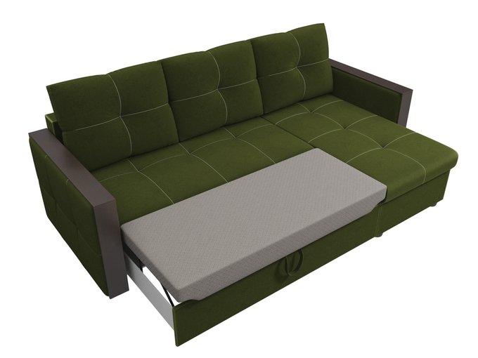 Угловой диван-кровать Валенсия зеленого цвета