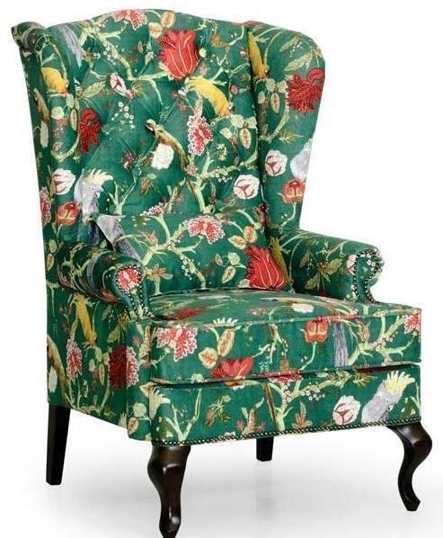 Кресло каминное Largo с ушками дизайн 10 зеленого цвета