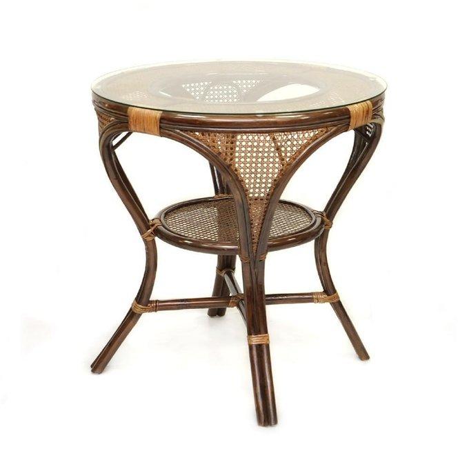 Стол обеденный Mokko L из ротанга со стеклянной столешницей