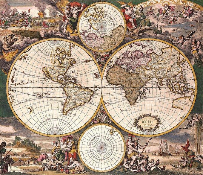 Репродукция картины на холсте Карта старинная