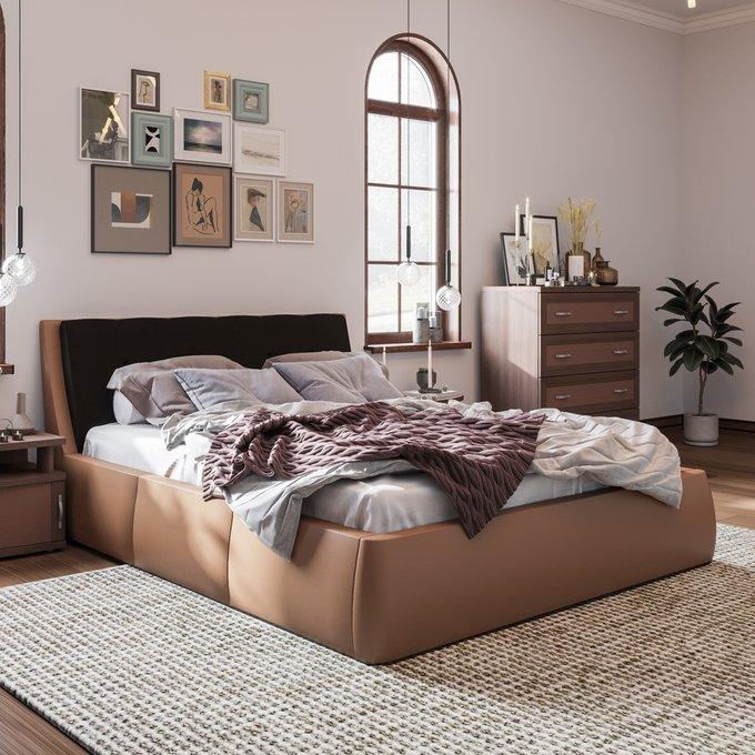 Кровать Гесиона 180х200 коричневого цвета с подъемным механизмом