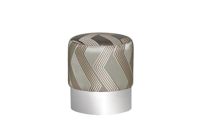 Пуф серебристого цвета с металлическим ободом
