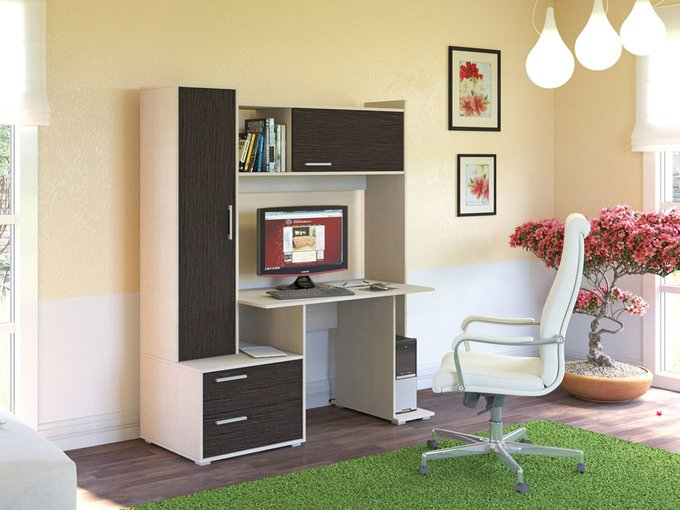 Стол компьютерный Брайтон М цвета дуб паллада/венге