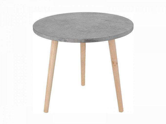 Столик кофейный Cement Look с деревянными ножками