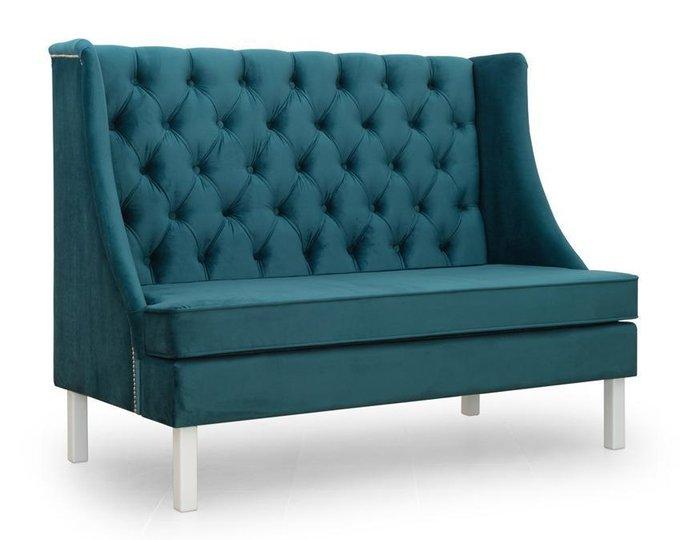 Диван прямой Шлягер дизайн 1 темно-синего цвета