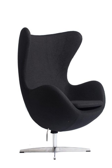 Кресло Egg Chair Чёрное 100% Кашемир